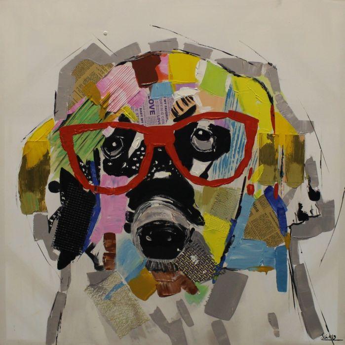 Dieren Schilderijen: Schilderij kleurrijke hond modern 80x80