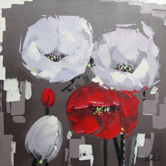 Bloemen Schilderijen: Schilderij rood witte bloemen modern 80x80