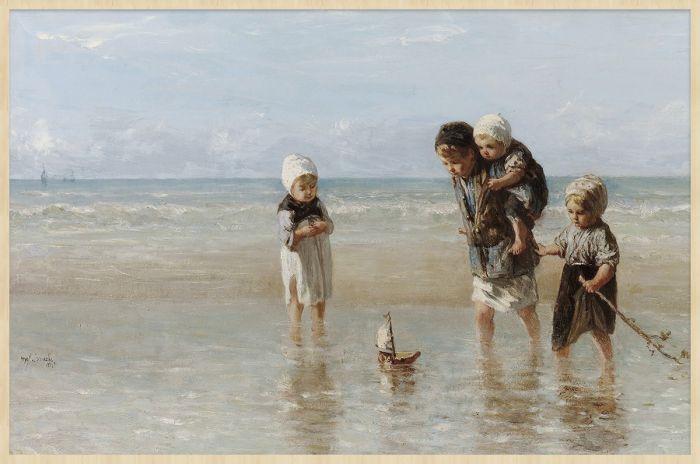 Figuratieve Schilderijen: Forex schilderij Kinderen der zee van de schilderij Jozef Israëls. Wandkraft collectie