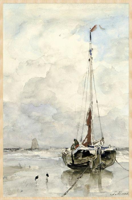 Dieren Schilderijen: Forex schilderij Visserspink aan het strand. Schilder Jacob Maris gemaakt tussen 1847 - 1899