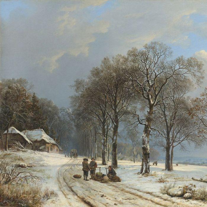 Figuratieve Schilderijen: Winterslandschap Barend Cornelis Koekkoek Wandkraft Dibond Schilderij Collectie