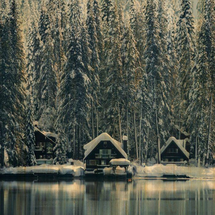 Foto Kunst Schilderijen: Houten schilderij drie besneeuwde huizen