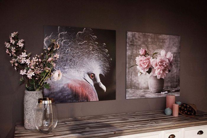 Bloemen Schilderijen: Pioen Rozen In Vaas Wandkraft Dibond Schilderijen Collectie