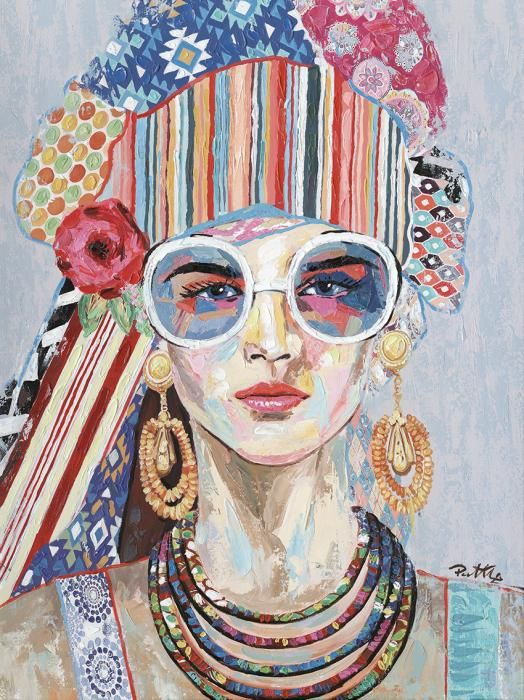 Bloemen Schilderijen: Vrouw Bril Kleurrijke Kleding Sieraden Olieverf Schilderij 90x120