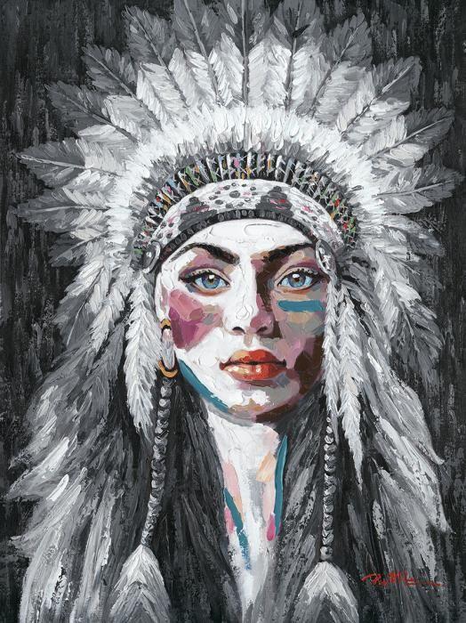 Figuratieve Schilderijen: Vrouw Indiaan Kleur Zwart Wit Olieverf Schilderij 90x120