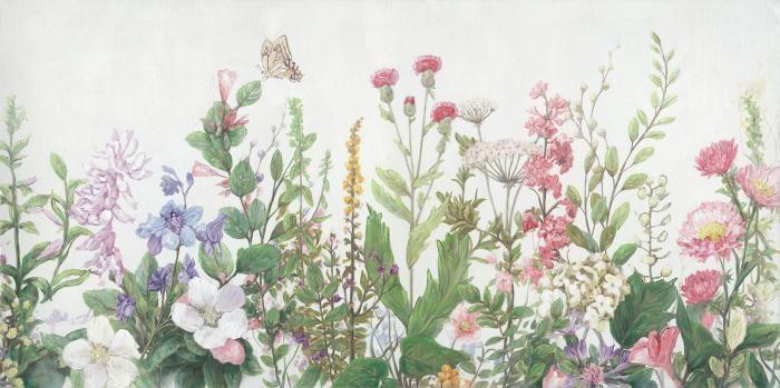 Bloemen Schilderijen: Bloemen Veld Weide Pastel Kleuren Olieverf Schilderij 140x70