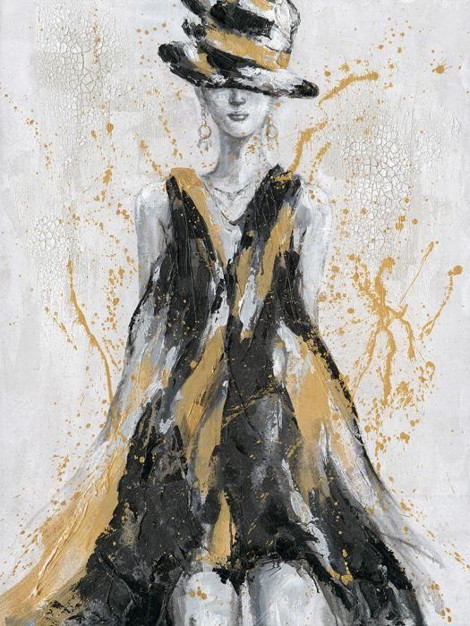 Figuratieve Schilderijen: Olieverf schilderij zwart beige jurk vrouw 90x120