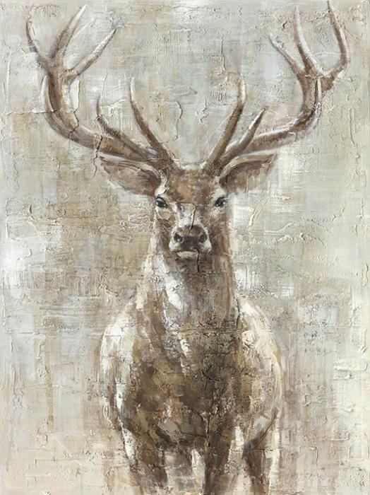 Dieren Schilderijen: Bruin Hert Gewei Structuur Olieverf Schilderij 90x120