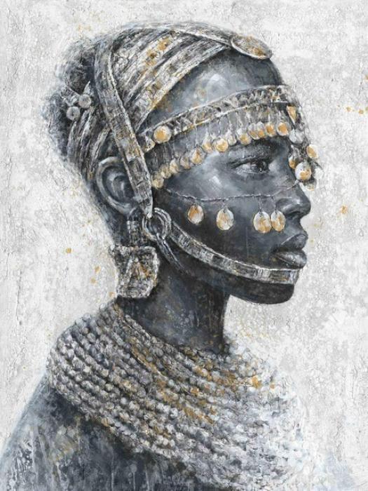 Figuratieve Schilderijen: Afrikaanse Man Cultureel Munten Olieverf Schilderij 90x120