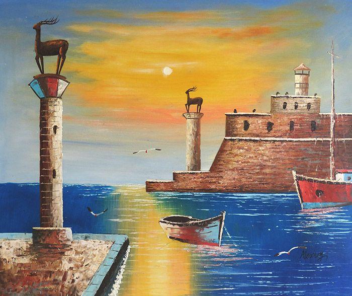 Gebouwen Schilderijen: Mandraki Haven Schilderij
