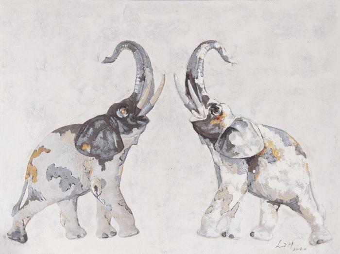 Dieren Schilderijen: Twee Olifanten Schilderij