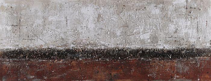 Abstracte Schilderijen: Olieverf schilderij abstract grind zwart bordeaux rood grijs