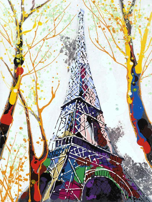 Kleurrijke Schilderijen: Kleurrijke Eiffeltoren Schilderij