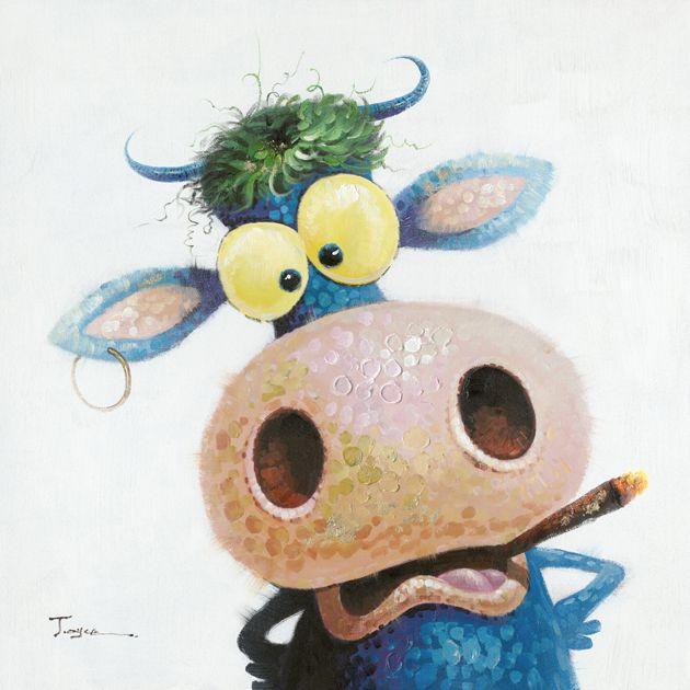 Dieren Schilderijen: Grappige Koe Schilderij