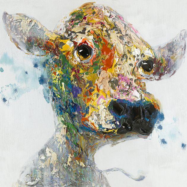 Dieren Schilderijen: Schilderij Kleurrijke Koe 80x80