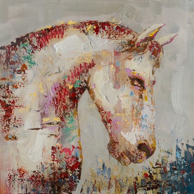 Dieren Schilderijen: Roze Paard Schilderij