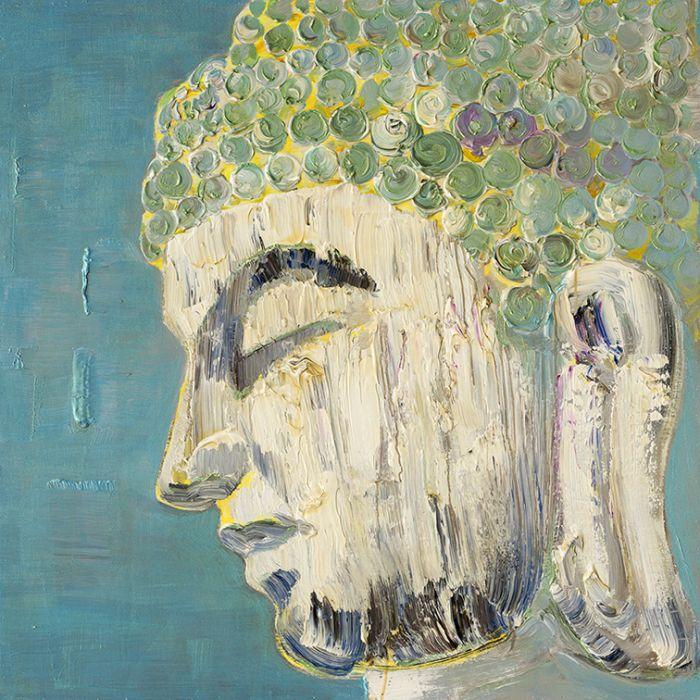 Boeddha Schilderijen: Groene Boeddha Schilderij