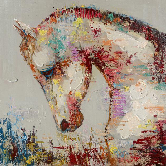 Dieren Schilderijen: Kleurrijk Paard Schilderij