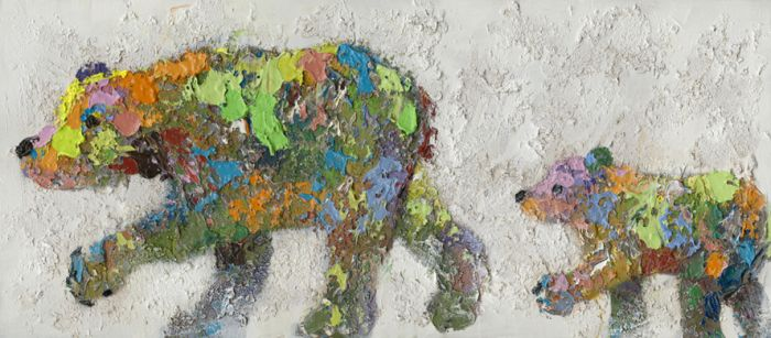 Dieren Schilderijen: Schilderij Kleurvolle Beren 160x70