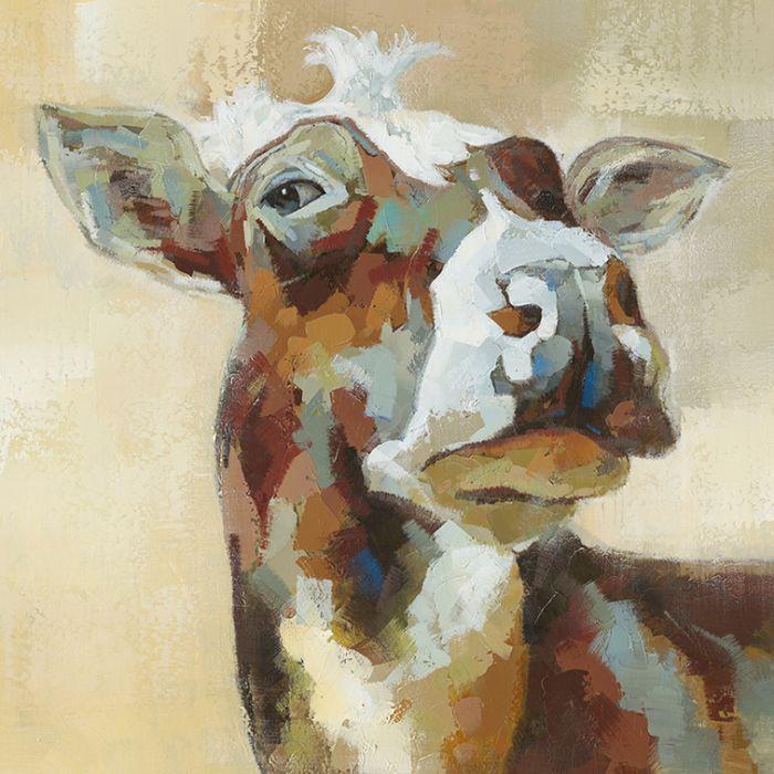 Dieren Schilderijen: Schilderij Bonte Koe 90x90