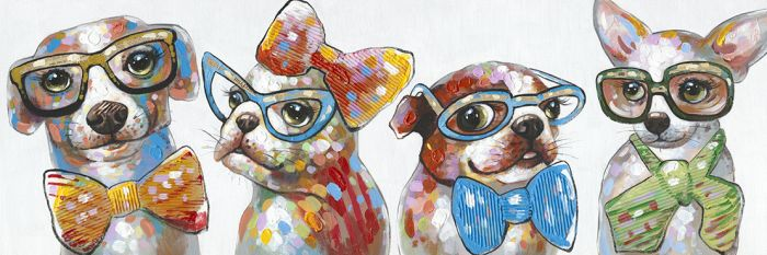 Dieren Schilderijen: Schilderij Vier Honden Vlinderdassen En Brillen 150x50