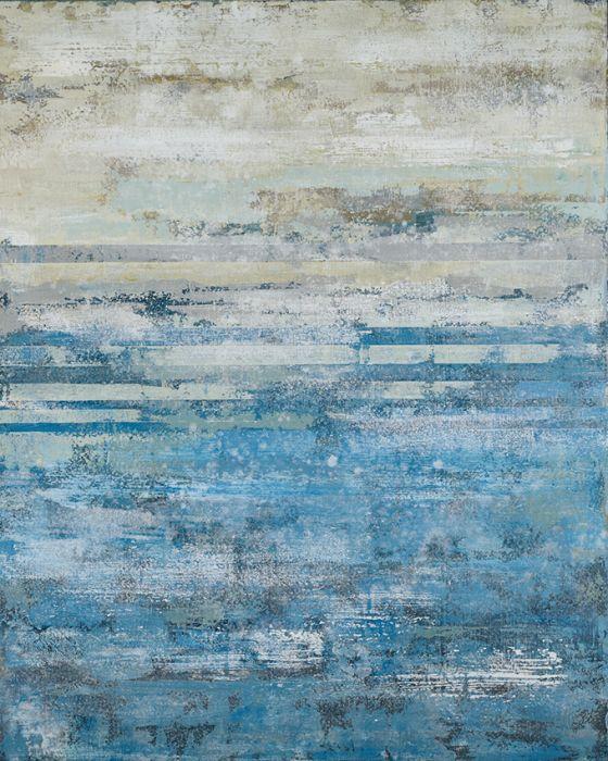 Abstracte Schilderijen: Abstract Grijs Turquoise Schilderij