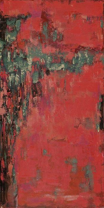 Abstracte Schilderijen: Rood Groen Abstract Schilderij