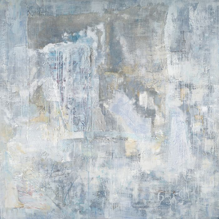 Abstracte Schilderijen: Licht Blauw Abstract Schilderij