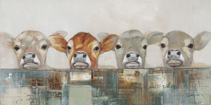 Dieren Schilderijen: Vier Koeien Schilderij