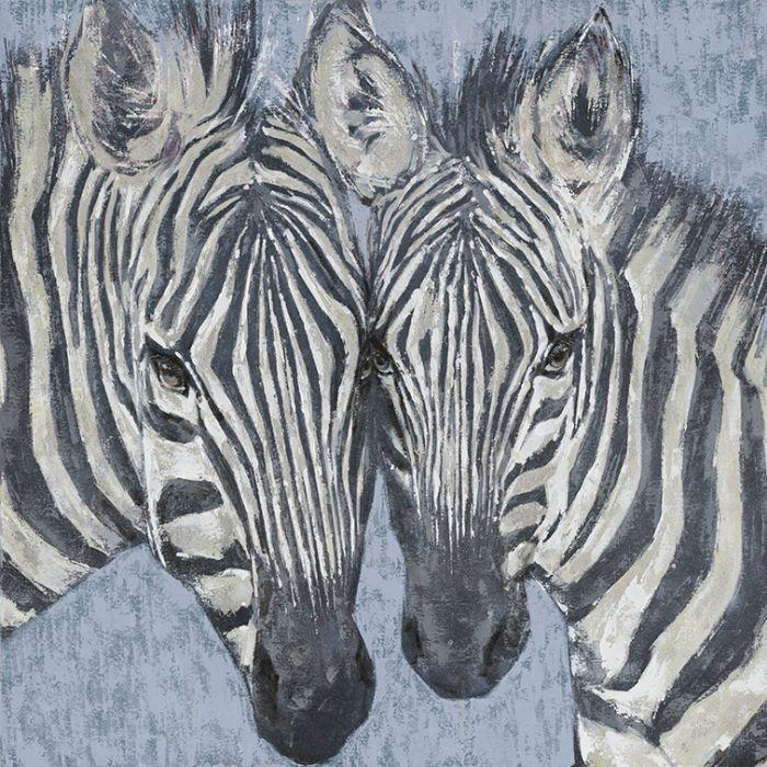 Dieren Schilderijen: Twee Zebra's Schilderij