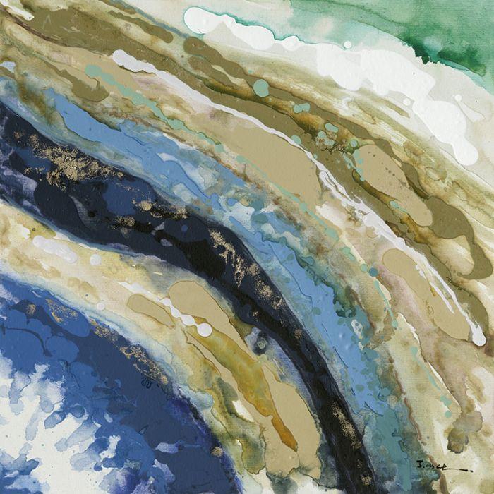 Kleurrijke Schilderijen: Goud Blauwe Lijnen Schilderij