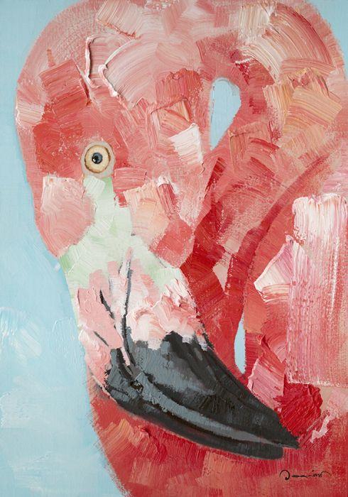 Dieren Schilderijen: Roze Flamingo Schilderij