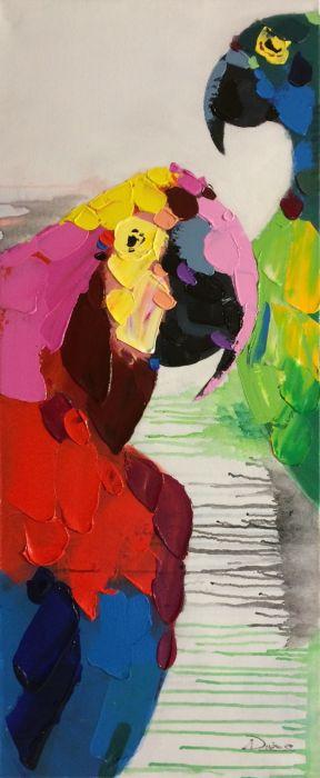 Dieren Schilderijen: Kleurrijke Papegaaien Schilderij