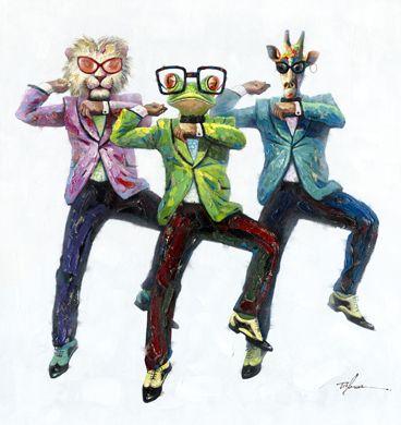 Grappige Schilderijen: Grappige Dansende Dieren Schilderij