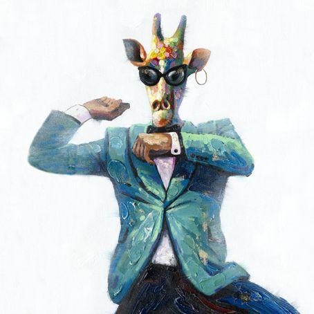 Dieren Schilderijen: Dansende Giraf Schilderij