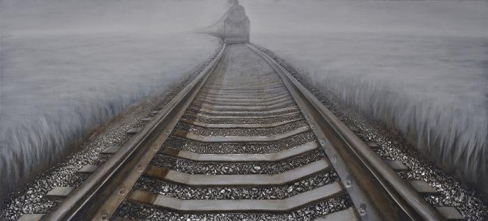Rijtuigen Schilderij: Groot Schilderij Trein Op Treinrails 180x80