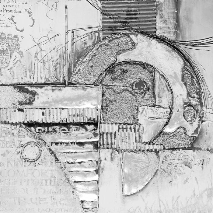 Abstracte Schilderijen: Grijs Zilver Abstract Schilderij