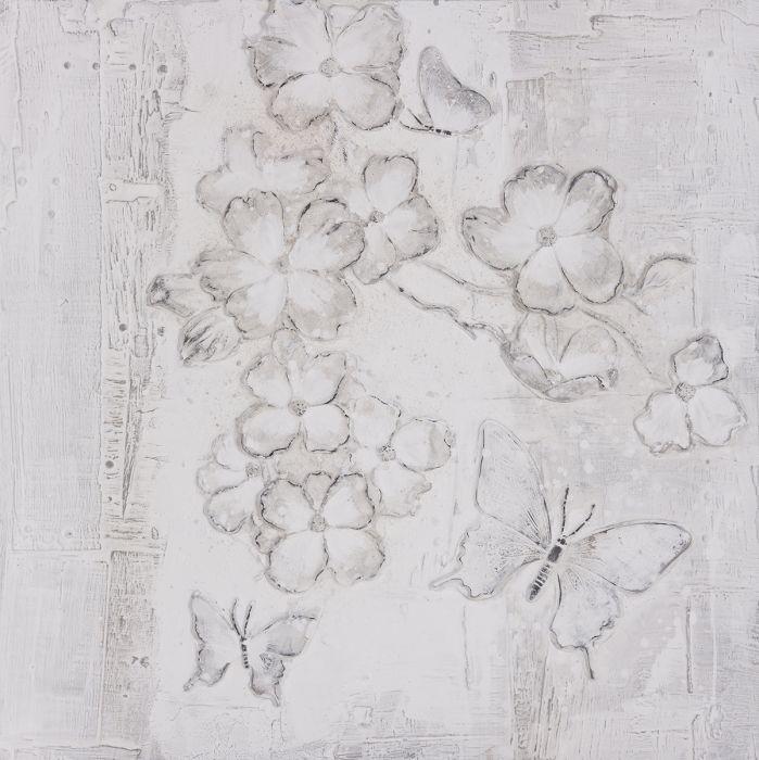 Bloemen Schilderijen: Bloemen Vlinders Schilderij