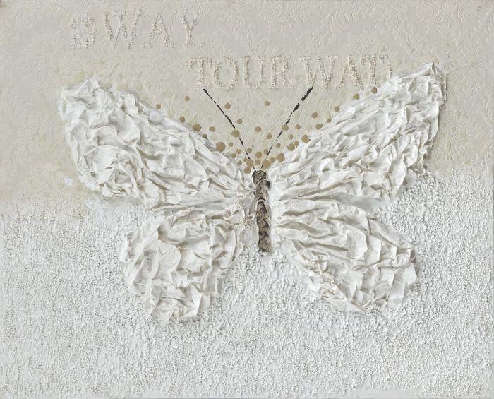 Dieren Schilderijen: Witte Sculptuur Vlinder Kunst