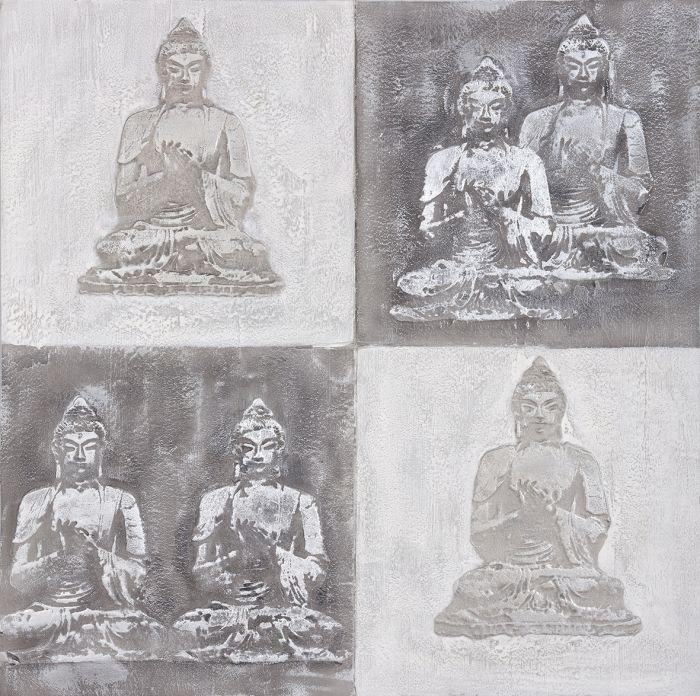 Boeddha Schilderijen: Zes Boeddha Beelden Schilderij