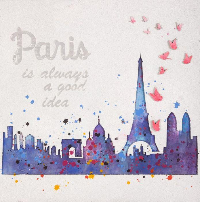 Kleurrijke Schilderijen: Schilderij van olieverf Love Paris