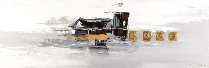 Abstracte Schilderijen: Abstract Schilderij zwartwart Goud Grijs 150x50