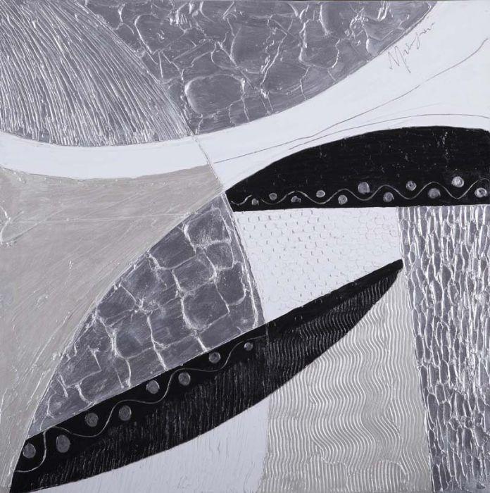 Abstracte Schilderijen: Zwart Wit Abstract Schilderij