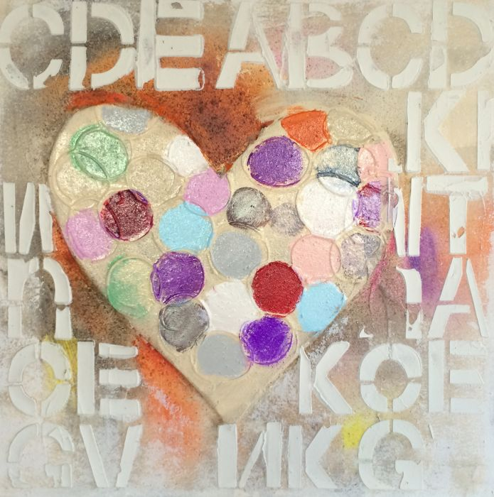 Kleurrijke Schilderijen: Kleurrijk Letters Hartje Schilderij