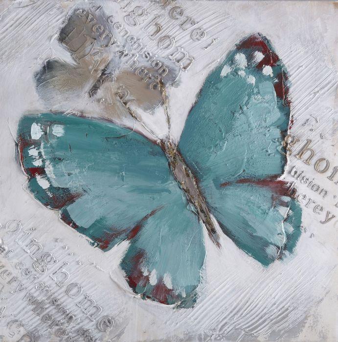 Dieren Schilderijen: Groen Blauwe Vlinder Schilderij