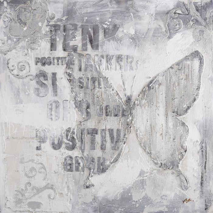Dieren Schilderijen: Grijze Vlinder Teksten Schilderij