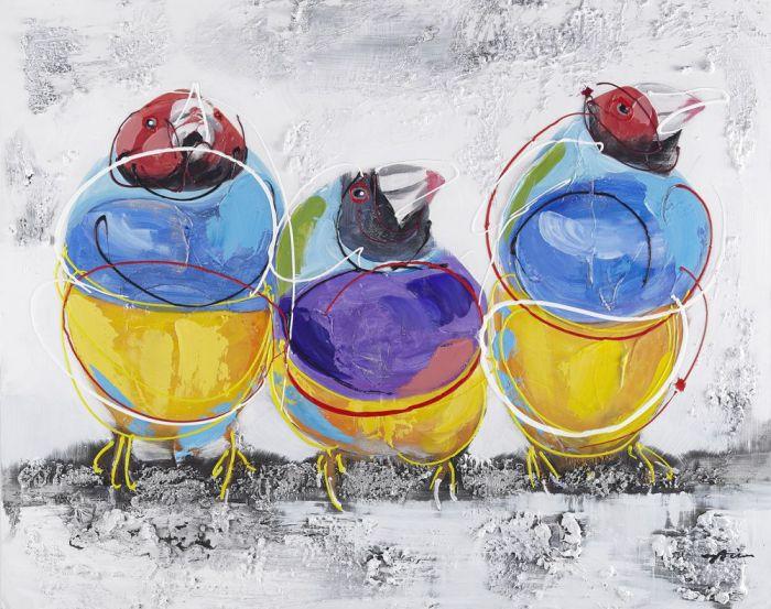 Dieren Schilderijen: Drie Kleurrijke Vogels Schilderij