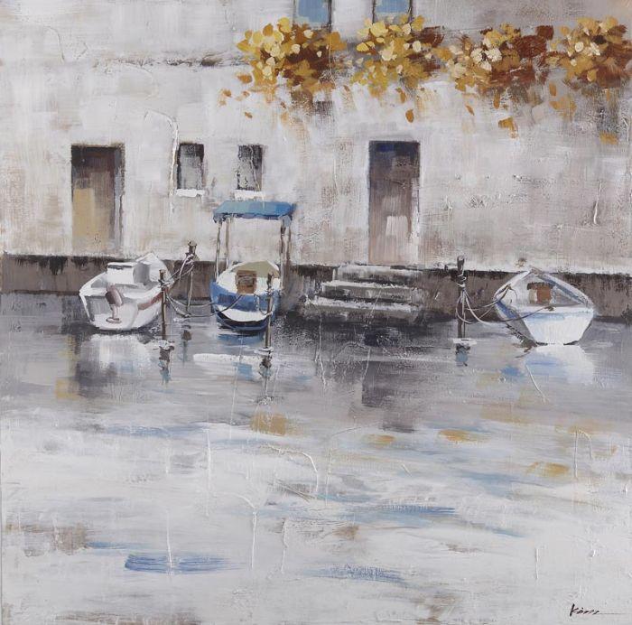 Rijtuigen Schilderij: Drie Boten Haven Schilderij1