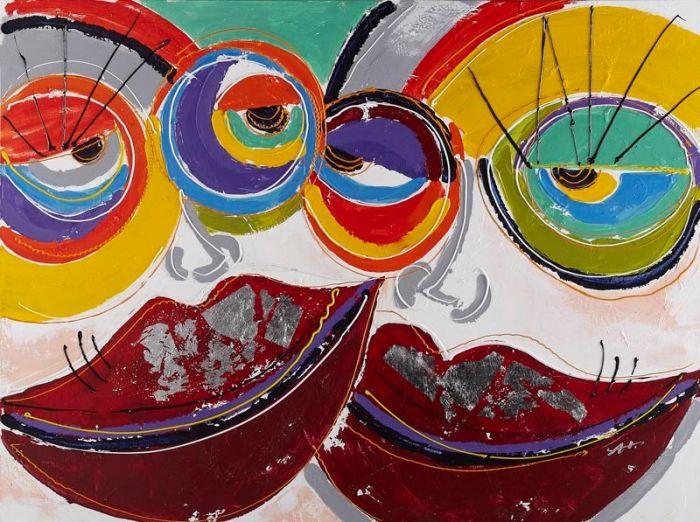 Figuratieve Schilderijen: Kleurrijke Dames Schilderij
