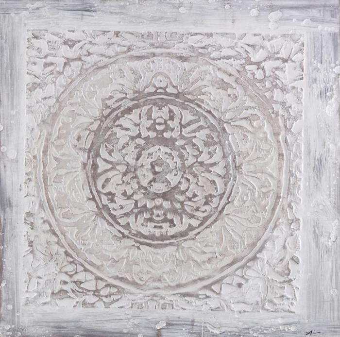 Moderne Schilderijen: Olieverf schilderij wit beige ornament